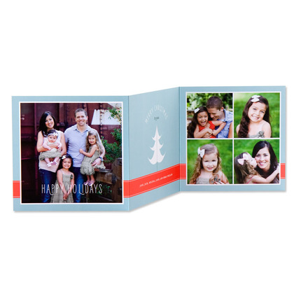 Tri-Fold Holiday Cards Paper Craft Tree - Front : Almond