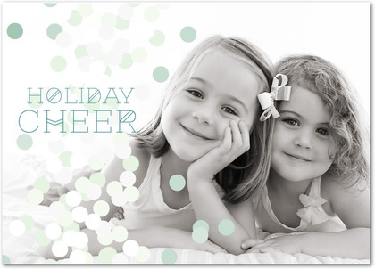 Folded Holiday Photo Cards Dotted Cheer - Front : Deep Turquoise