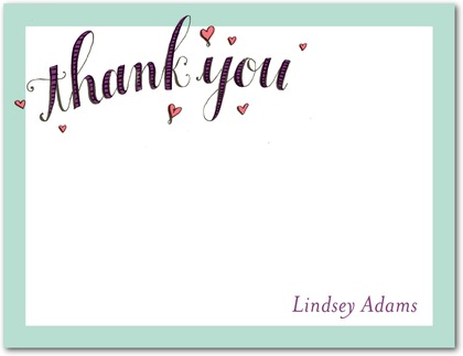 Signature White Thank You Cards Loving Shower - Front : Soft Pink