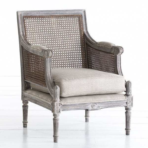 W2518 Linen Upholstered Cane Back Chair Chairs
