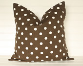 Chocolate Brown Polka Dot Pillow Cover 18x18