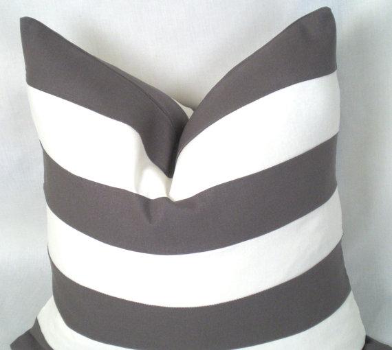 Classic Linen Stripe . Stitched Linen Stripe . 18 x 18 inches . White . Charcoal . Linen . Stripe