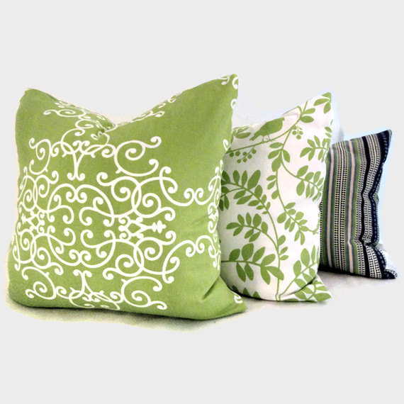 SALE Lime Green Birds in Tree Robert Allen Pillow Cover 18x18, 20x20, 22x22