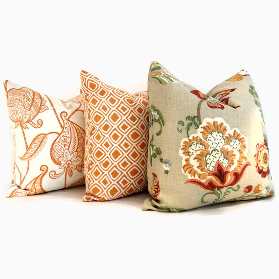 Orange Paisley Flowers,  Duralee  Decorative Pillow Cover, 18x18, 20x20, 22x22