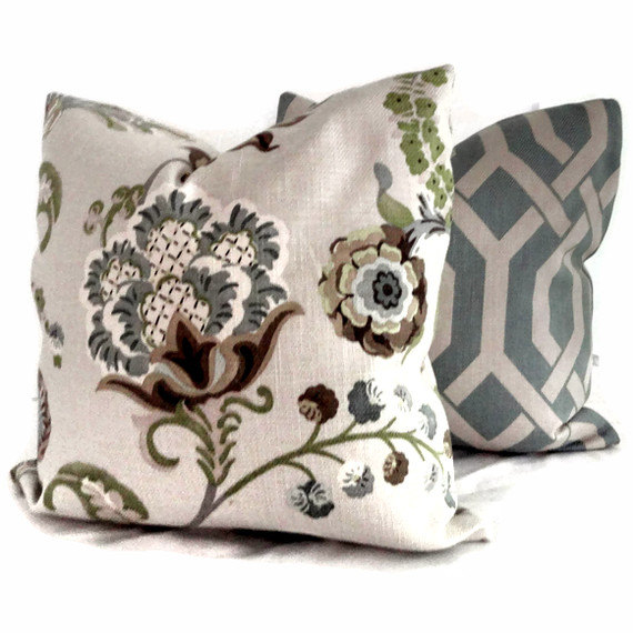 Kravet Green and Grays Jacobean Floral  Pillow Cover 18x18, 20x20 or 22x22