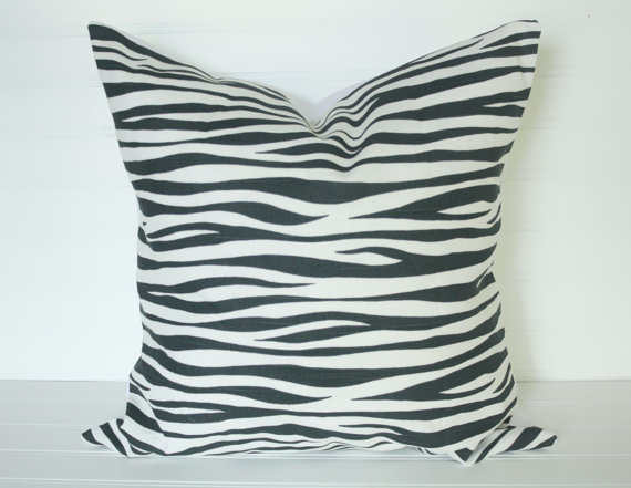 1 18x18 Charcoal Black Zebra Pillow Cover
