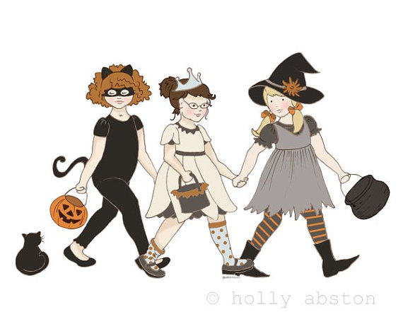 Girls' Night Out. 3 girls out for a night of trick or treating on Halloween. Original 8x10 giclee art print