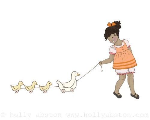 Follow The Leader 2 original giclee art print 8 x 10.  Girl with ducks pull-toy.
