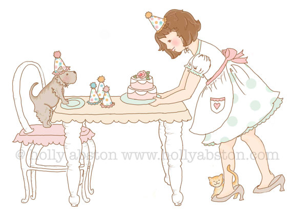Party for Three  8 x 10 giclee art print.  Tea Party.