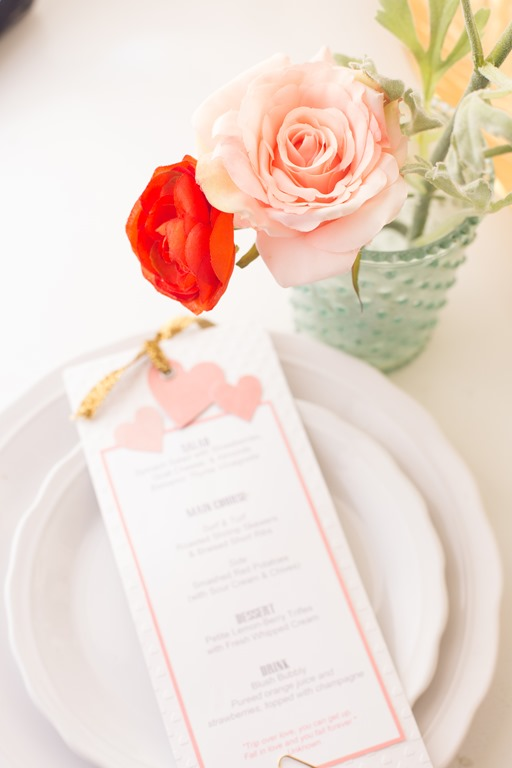 Valentine's Dinner for Two Menu