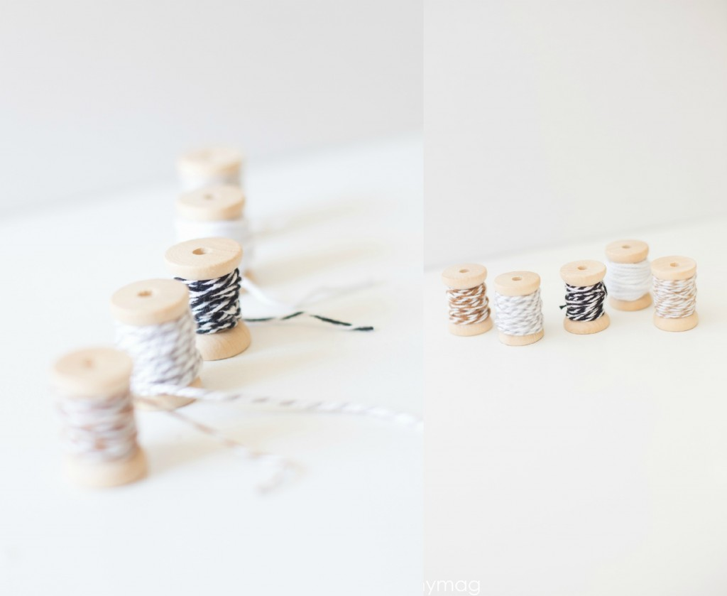 Wooden Spools with Twine