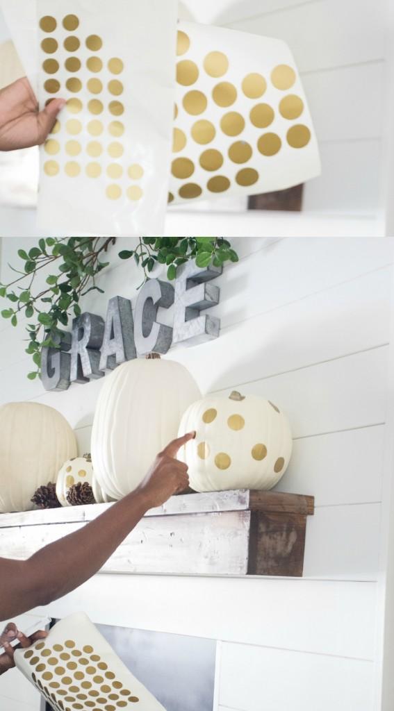 Gold DIY Polka Dot Pumpkins