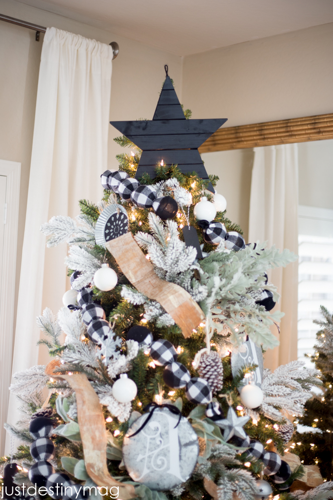 Christmas Bow Christmas Tree Print Buffalo Check Black and White