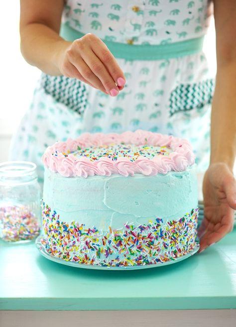 blue sprinlked cake