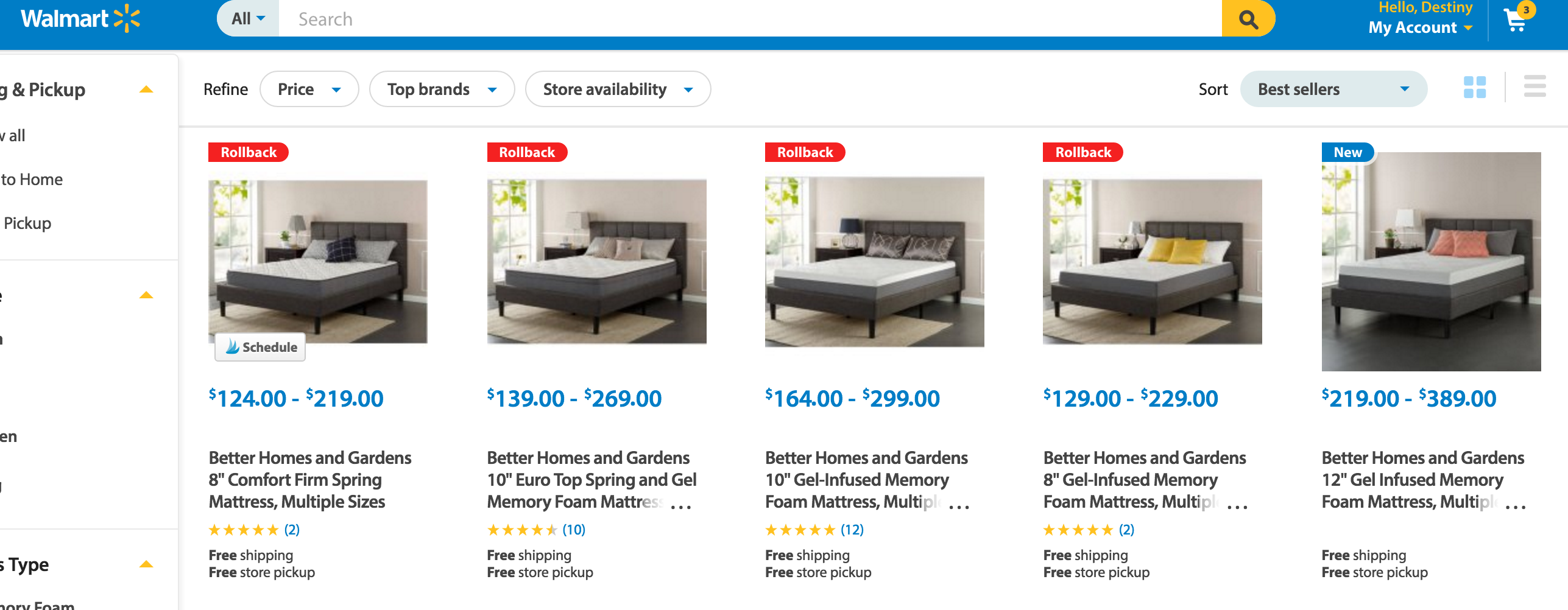 Better Homes and Garden Walmart Mattress Options