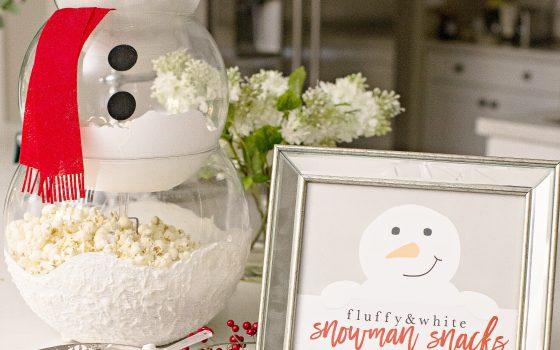 Cute Snowman Printable for Snackable Snowman