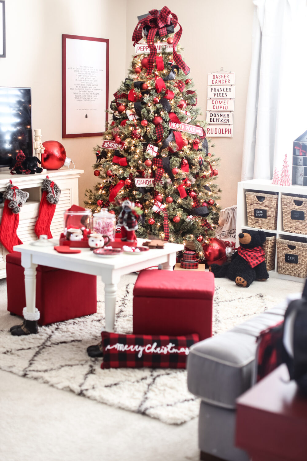Kids Christmas tree Ideas in red and black. This tree looks like its perfect for a playroom.