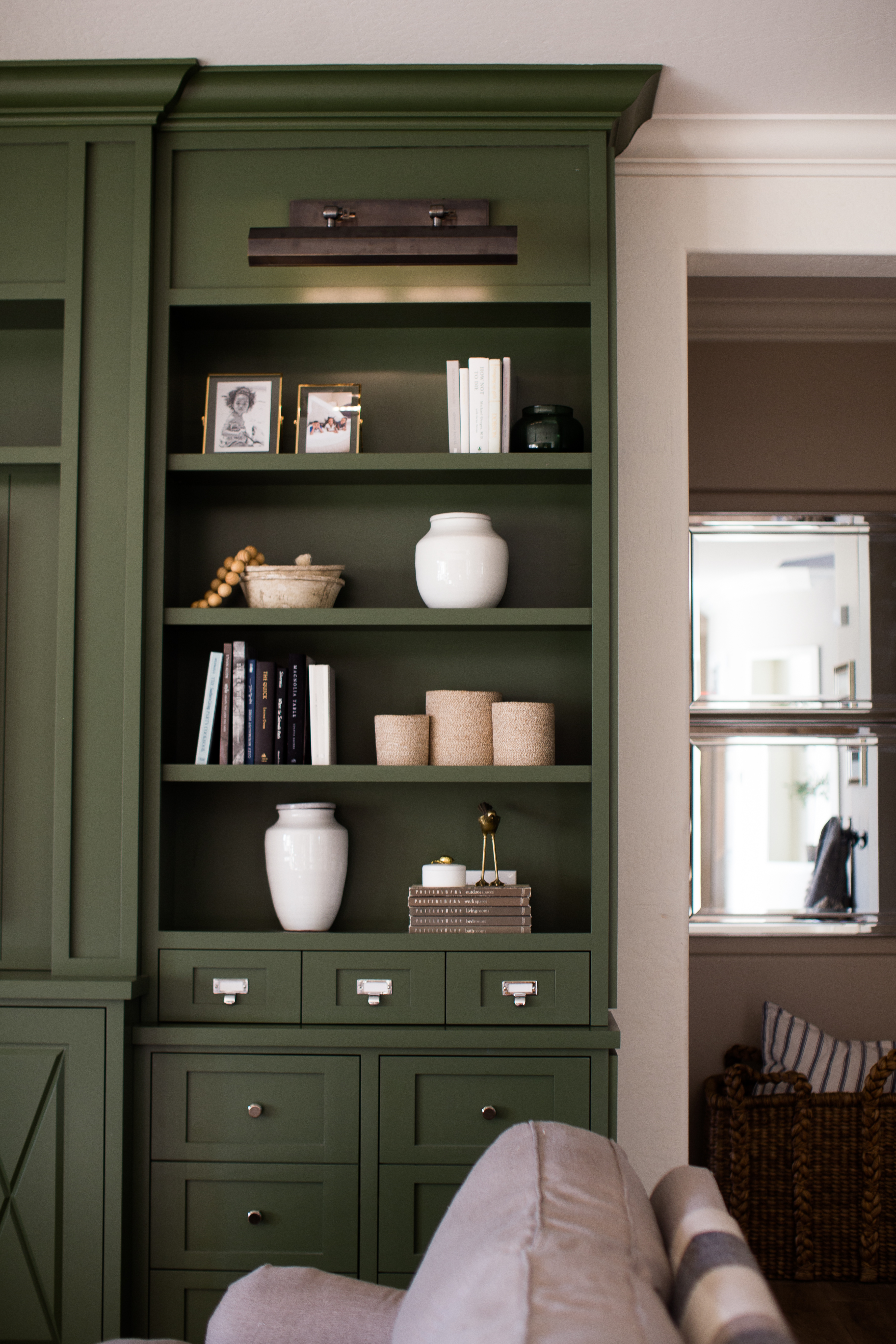 Dark Green Cabinets with Lights