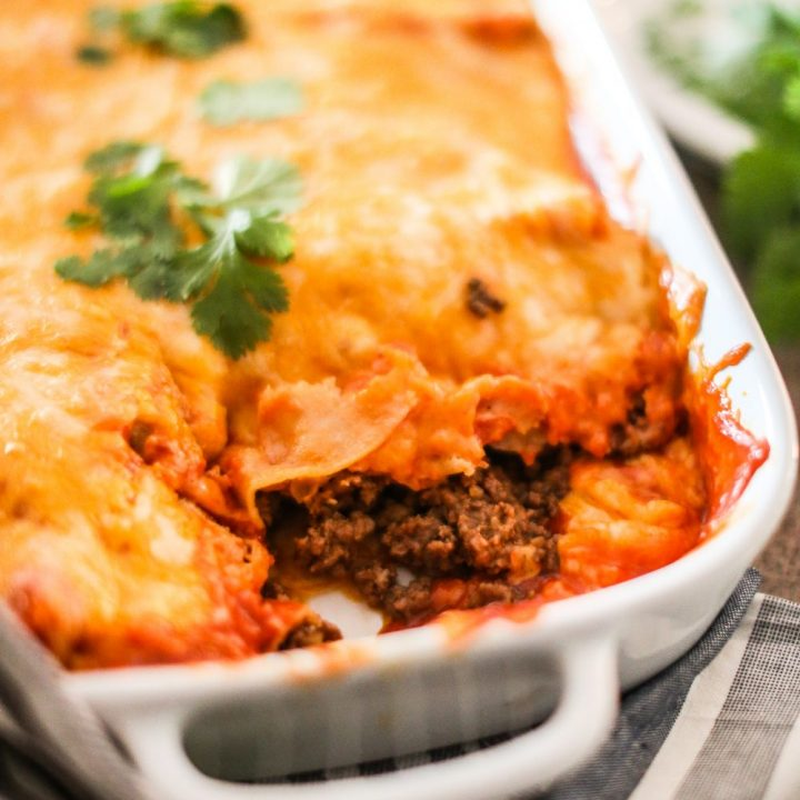 Ground Beef Enchiladas with Macayo's Enchilada Sauce