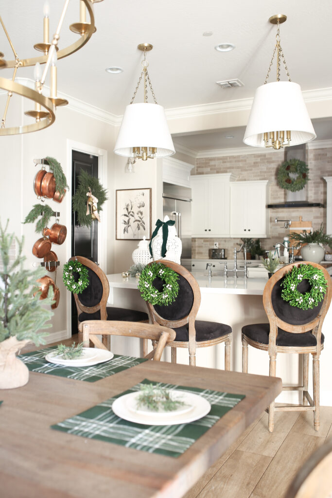 Christmas Kitchen with Black Chairs
