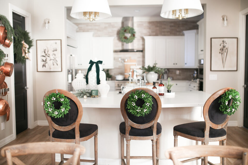 Christmas Kitchen with Barstools