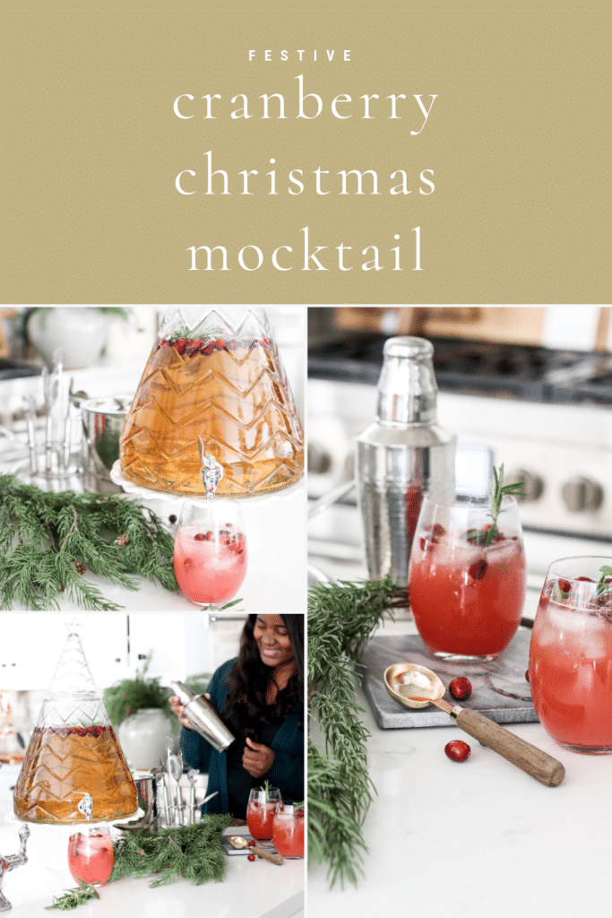 Christmas mocktail with ginger ale and cranberries