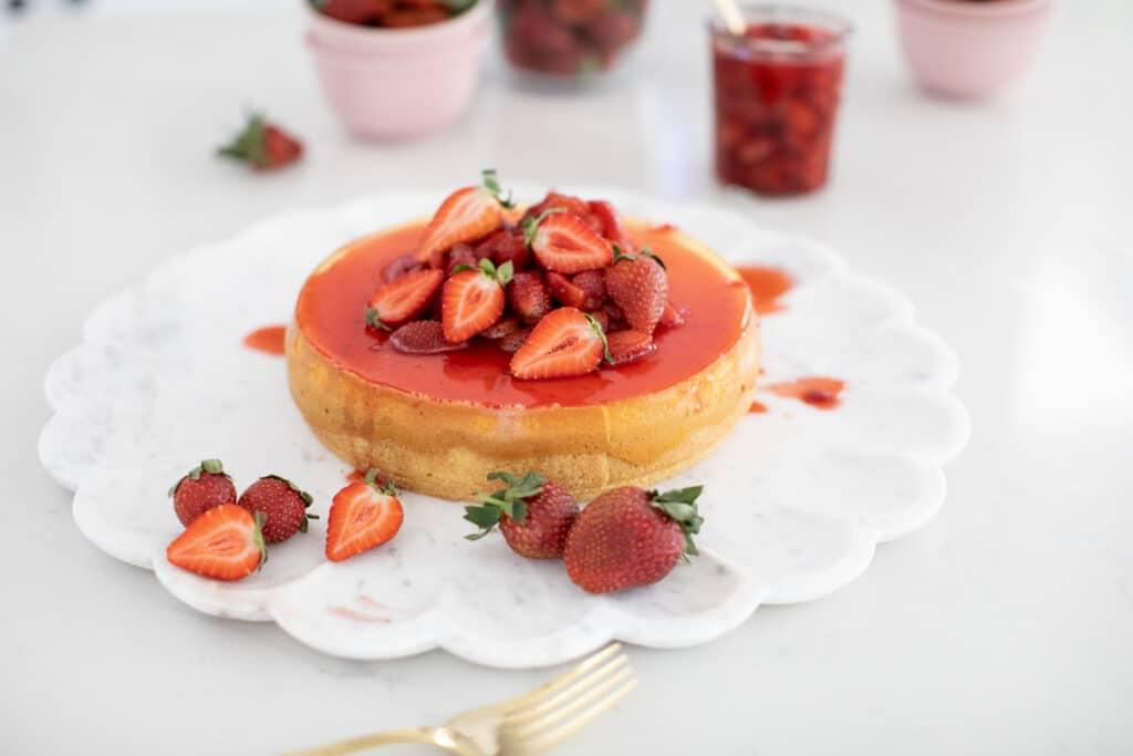 Strawberry Cheesecake with fresh strawberries