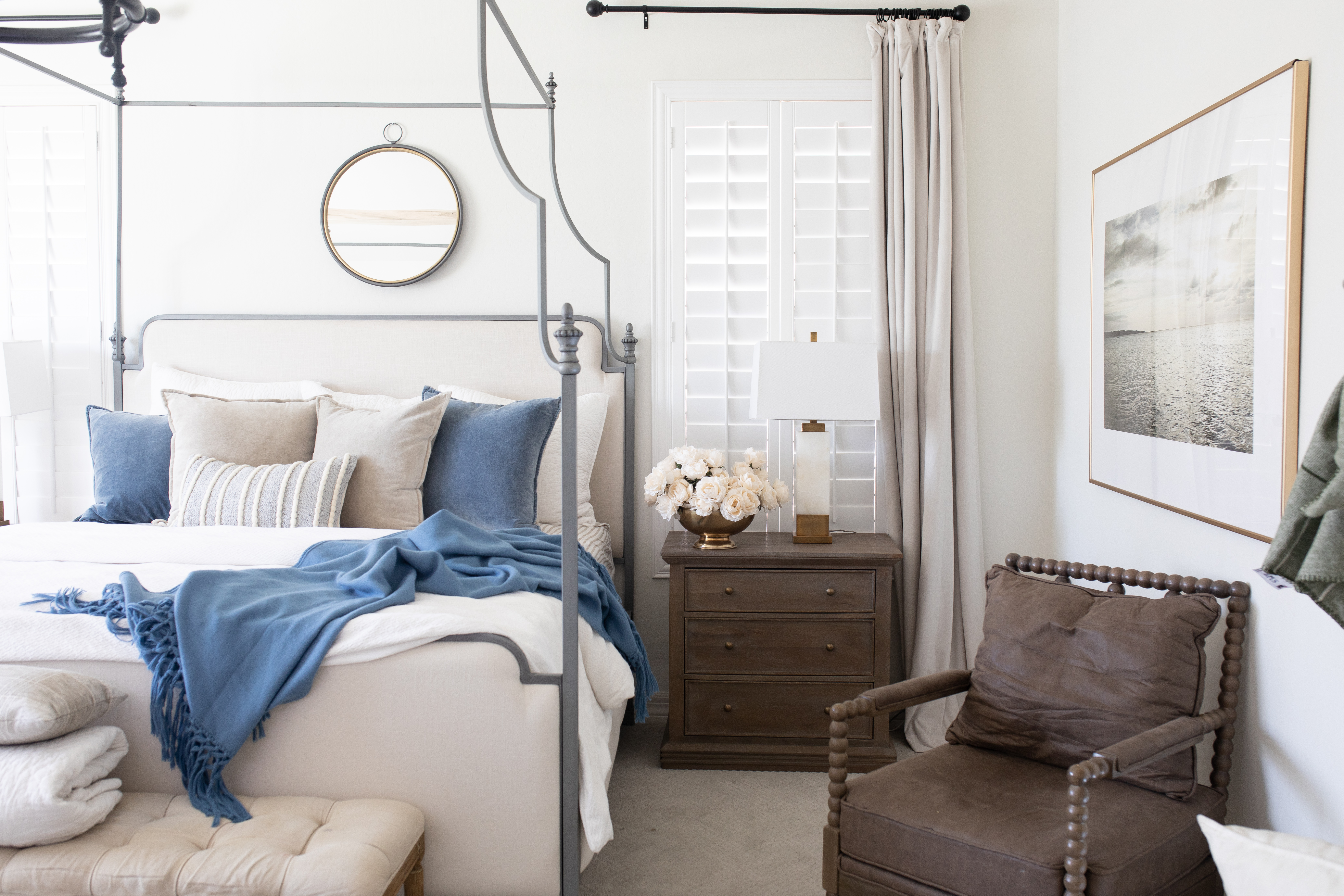 Bedroom with blue and white