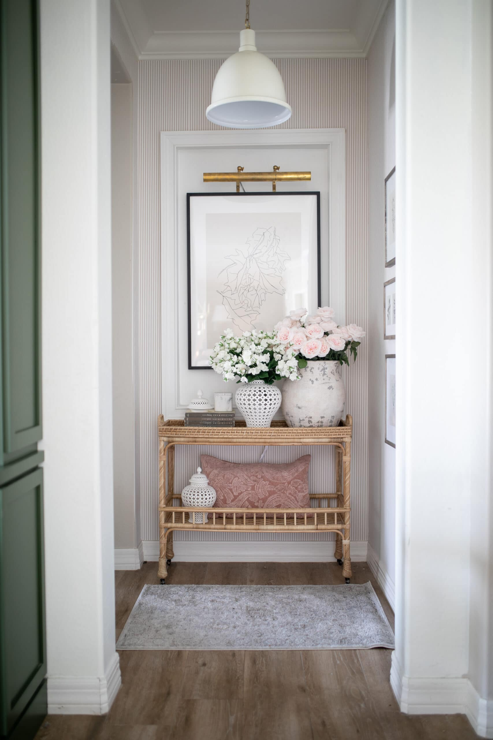 Hallway Decor Ideas with a rattan table from Serena and Lily