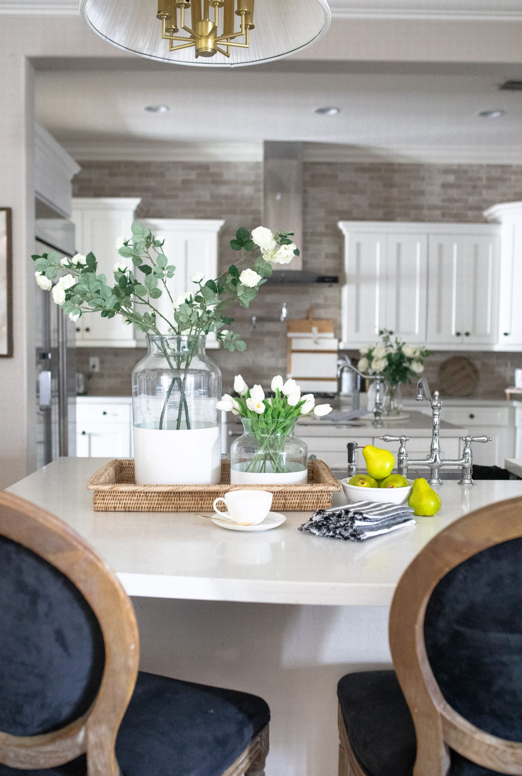 Kitchen Counter Styling with Flowers