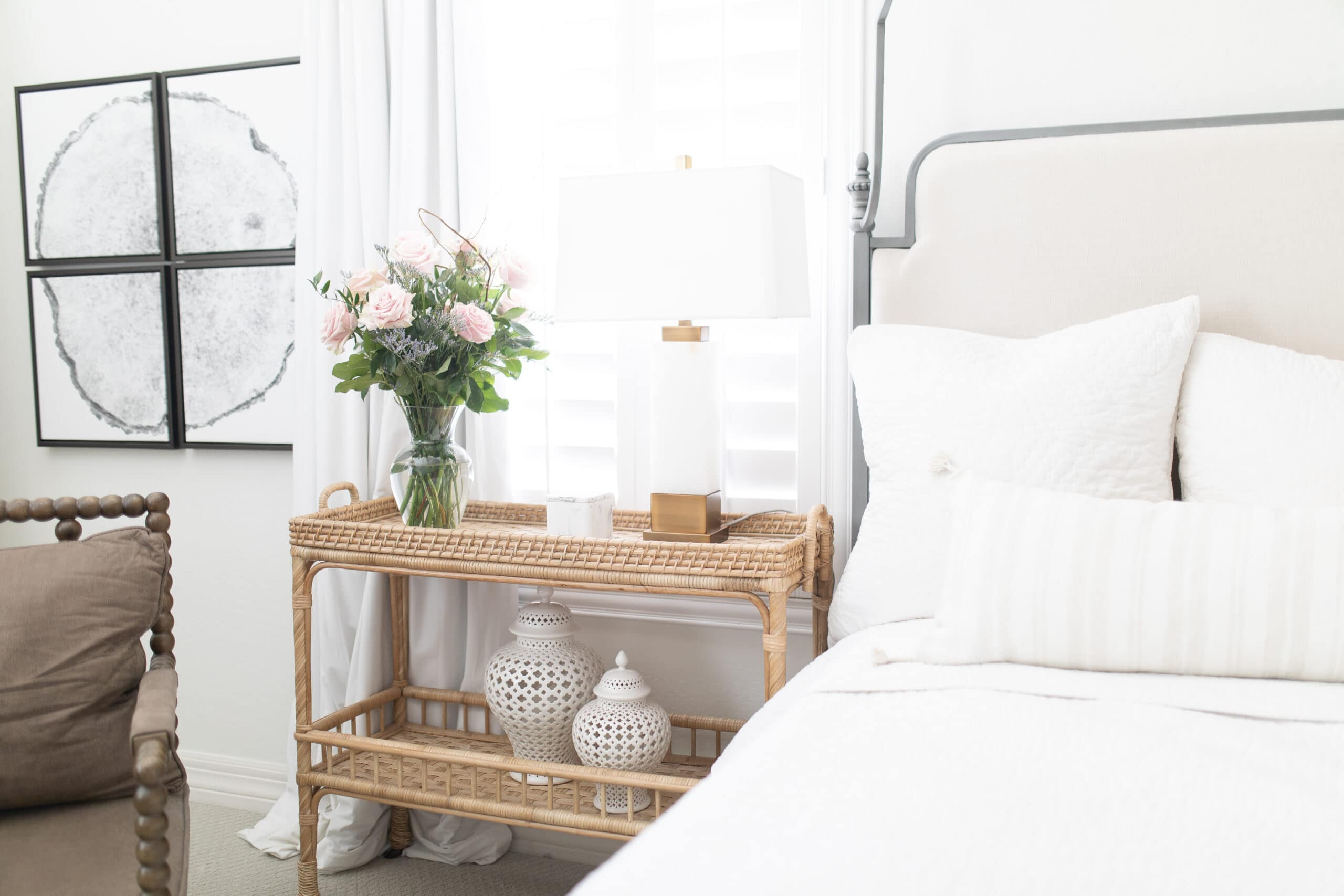 Rattan side table and nightstand