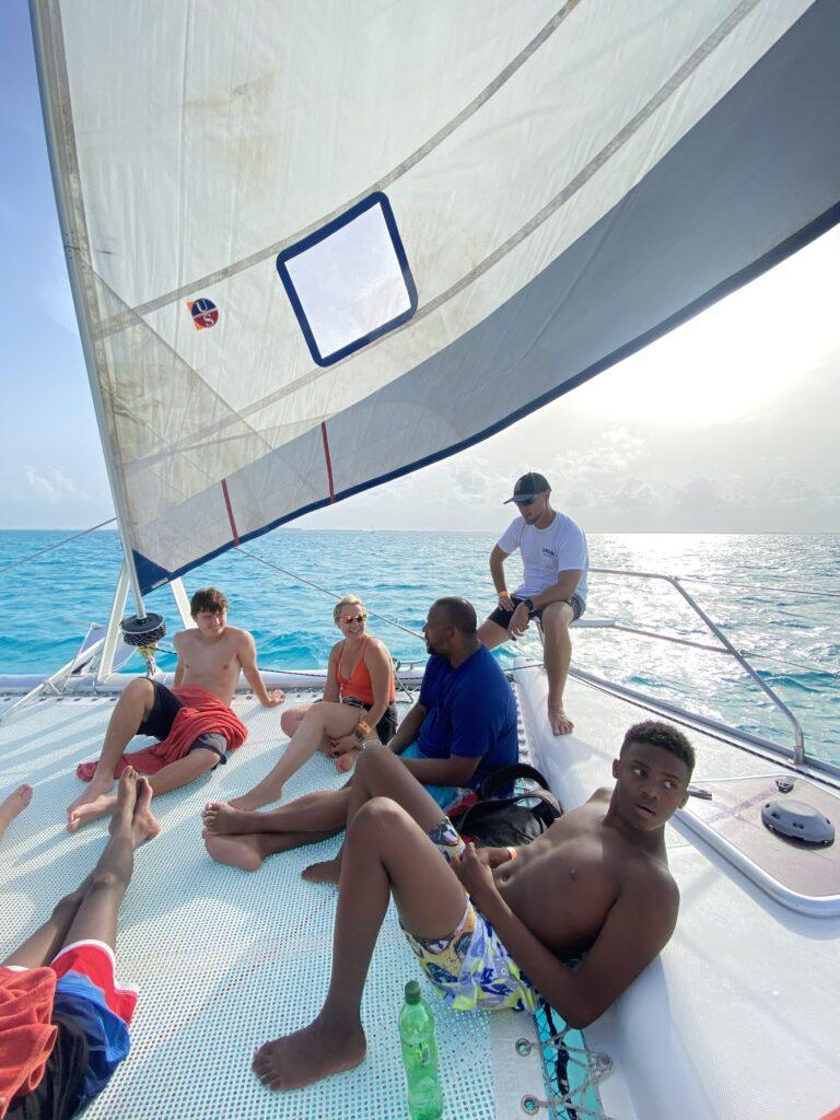Taking a catamaran to isla mujeres