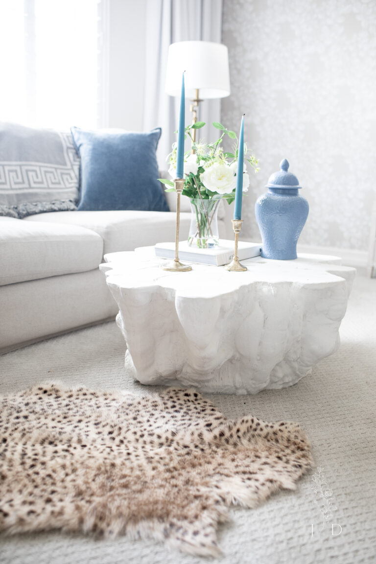 Serena and Lily Coffee table in all white. This is an indoor outdoor table.